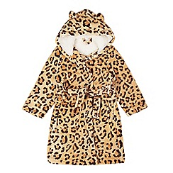 bluezoo - Girls' beige leopard print ear applique dressing gown