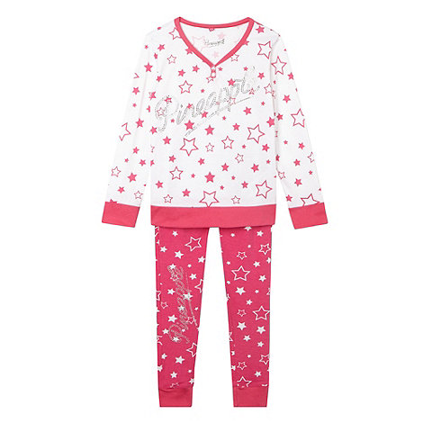 Pineapple - Girl+s pink star pyjama set