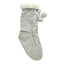 bluezoo - Girls' grey cable knit slipper socks