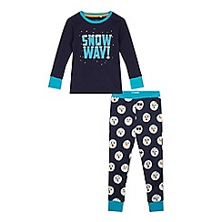 bluezoo - Boys' navy 'Snow Day!' pyjama set