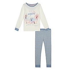 bluezoo - Girls' white and blue poodle print pyjama set