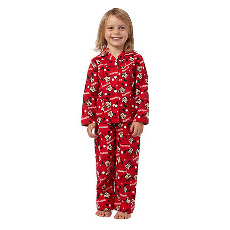 Disney - Girl's red 'Minnie Mouse' woven pyjamas