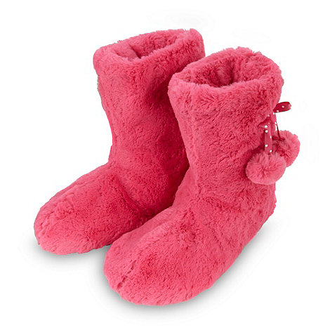 bluezoo - Girl+s bright pink faux fur slipper boots