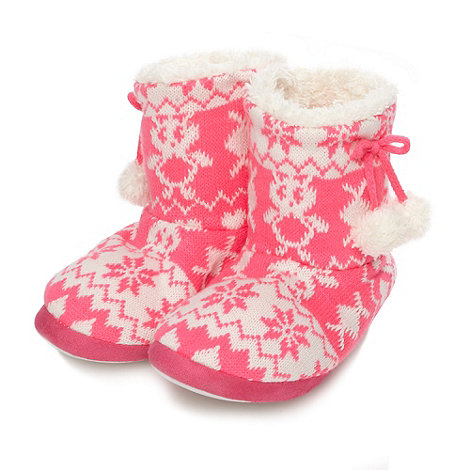bluezoo - Girl+s bright pink fairisle slipper boots