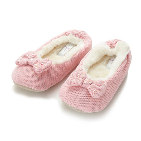 J by Jasper Conran - Designer girl+s pink knitted faux fur lined slippers