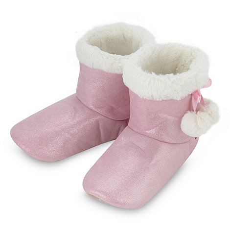 J by Jasper Conran - Designer girl+s pink faux fur lined slipper boots