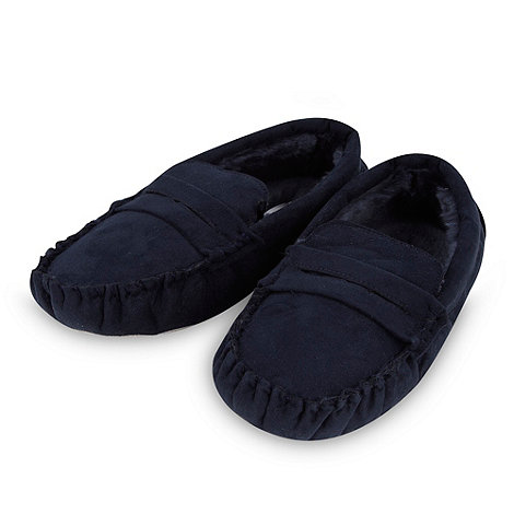 J by Jasper Conran - Designer boy+s navy moccasin slippers