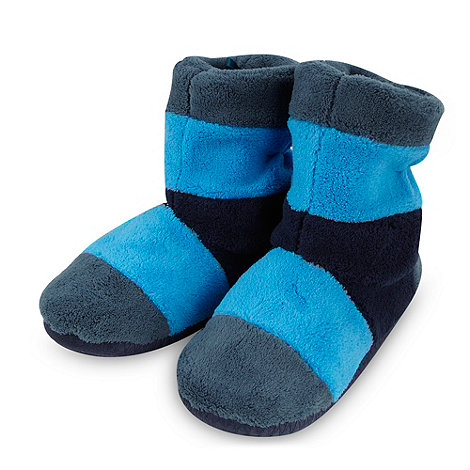 bluezoo - Boy+s blue striped fleece slipper boots