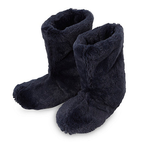 bluezoo - Boy+s navy faux fur slipper boots