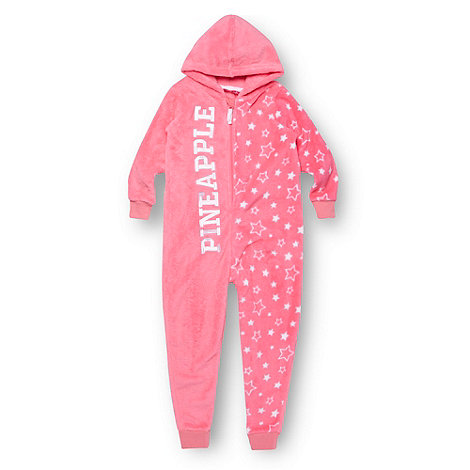 Pineapple - Girl+s bright pink fleece star patterned onesie