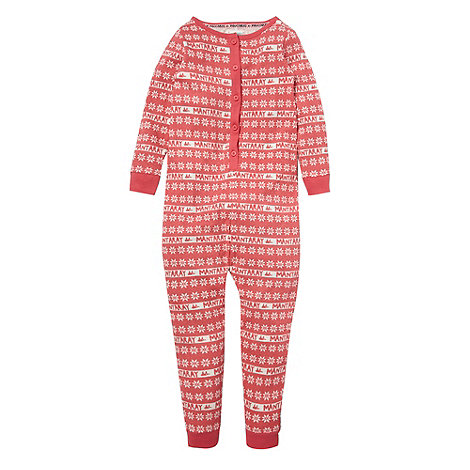 Mantaray - Girl+s pink fairisle onesie
