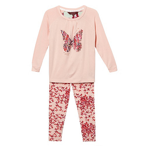 Baker by Ted Baker - Girl+s pink butterfly pyjama set