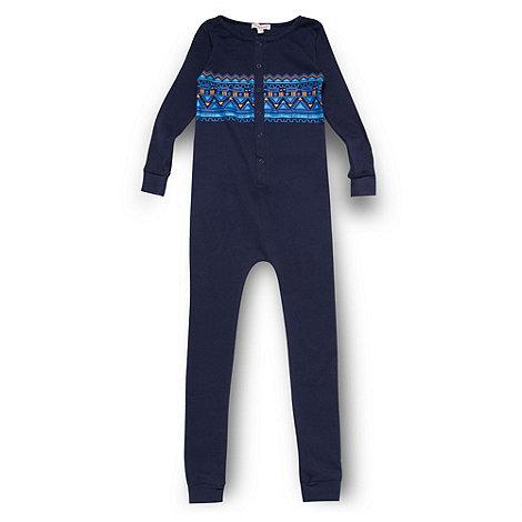 bluezoo - Boy+s blue geo print jersey onesie