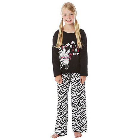 bluezoo - Girl+s black zebra printed pyjamas