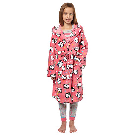 Hello Kitty - Girl+s pink +Hello Kitty+ fleece dressing gown