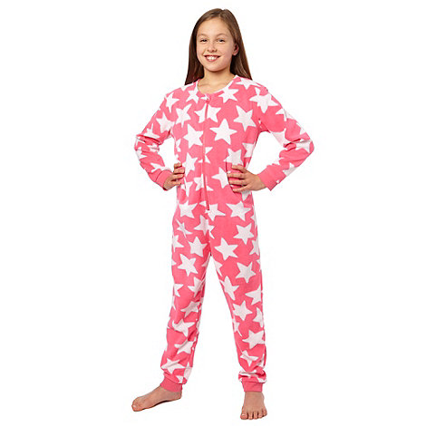 bluezoo - Girl's pink star printed fleece onesie