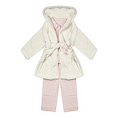 J by Jasper Conran - Girls' pink gingham print pyjama and cream dressing gown set