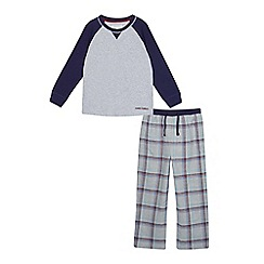 J by Jasper Conran - Boys' grey checked long sleeve pyjama set