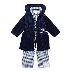 J by Jasper Conran - Boys' blue gingham print pyjama and navy dressing gown set