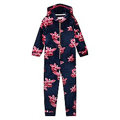 Baker by Ted Baker - Girls' navy fleece floral print onesie
