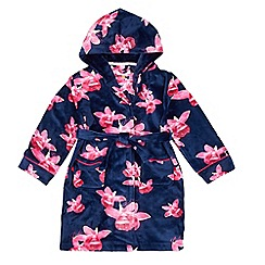 Baker by Ted Baker - Girls' navy floral print hooded dressing gown