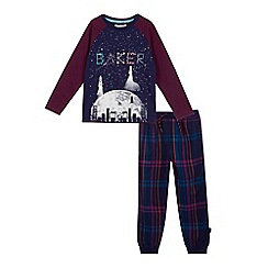 Baker by Ted Baker - Boys' navy constellation print glow in the dark pyjama set