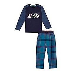 Baker by Ted Baker - Boys' navy logo print pyjama set