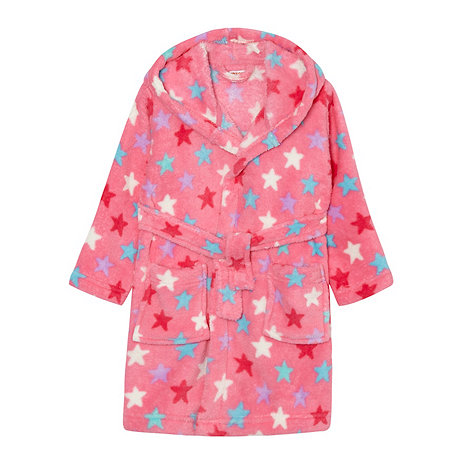 bluezoo - Girl+s pink star fleece dressing gown