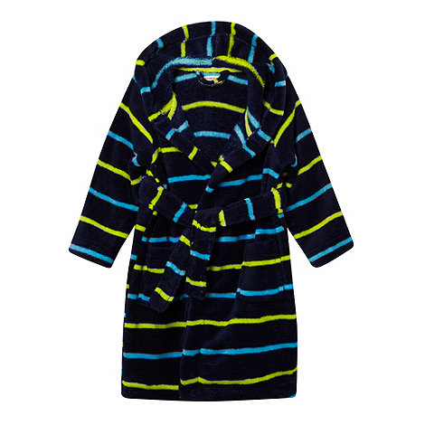 bluezoo - Boy+s blue hooded striped fleece dressing gown