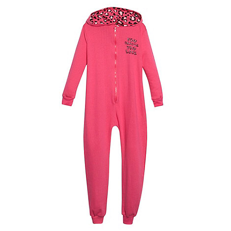 bluezoo - Girl+s pink leopard print +Snooze+ sweat onesie