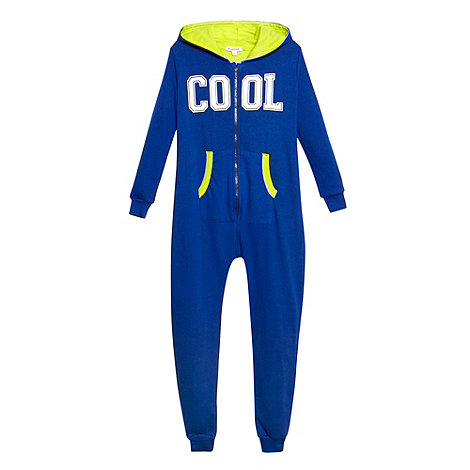 bluezoo - Boy's blue 'Cool' sweat onesie