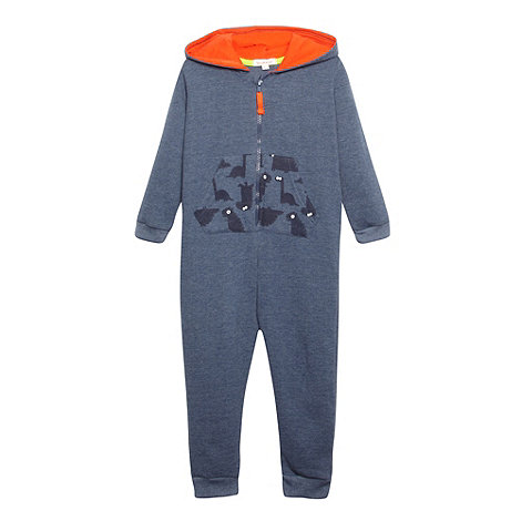 bluezoo - Boy+s navy dinosaur printed onesie