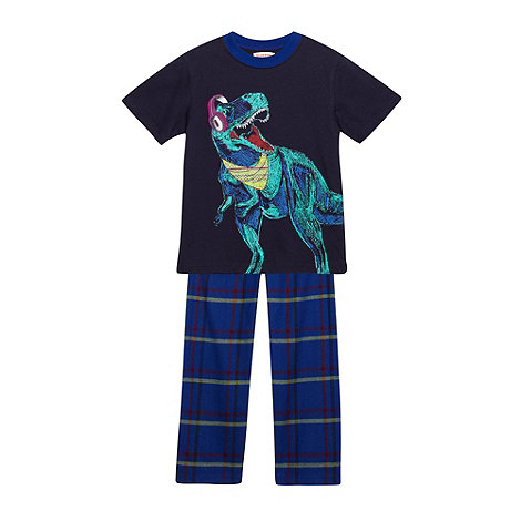 bluezoo - Boy+s navy dinosaur printed pyjama set