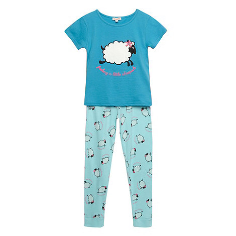 bluezoo - Girl+s aqua sheep printed pyjama set