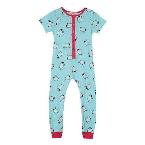 bluezoo - Girl+s aqua sheep printed onesie