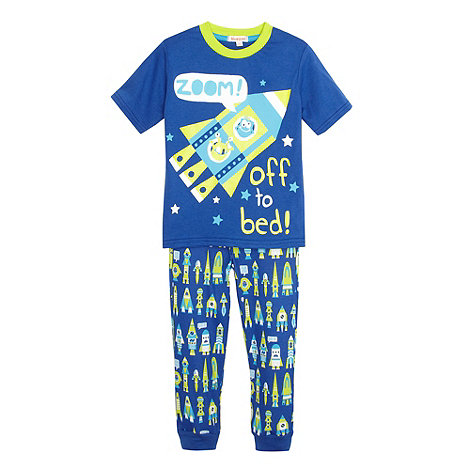 bluezoo - Boy+s blue spaceship pyjama set