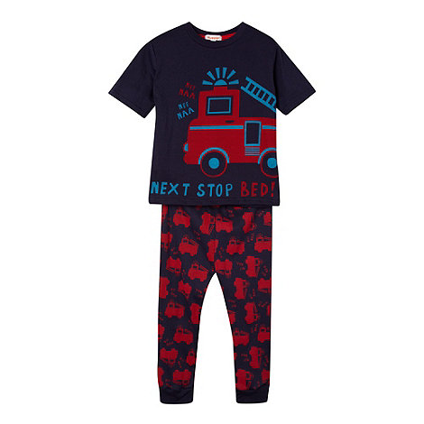 bluezoo - Boy+s navy fire engine print pyjamas
