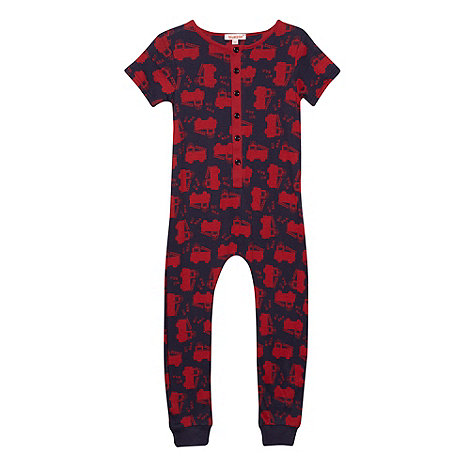bluezoo - Boy+s navy fire engine print onesie