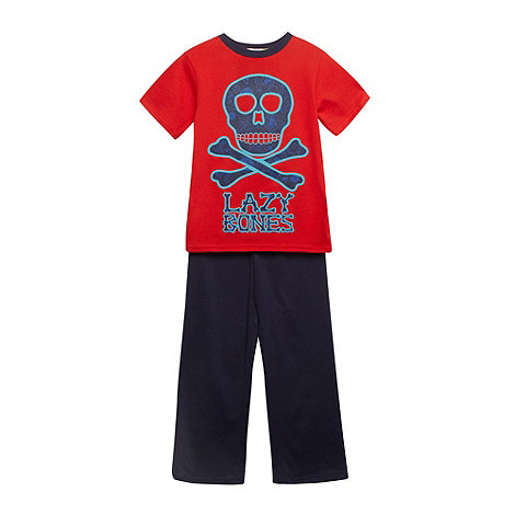 bluezoo - Boy's red 'Lazy Bones' pyjama set
