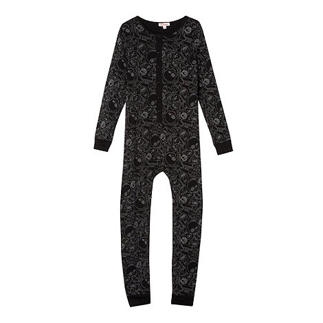 bluezoo - Boy+s black skull printed onesie