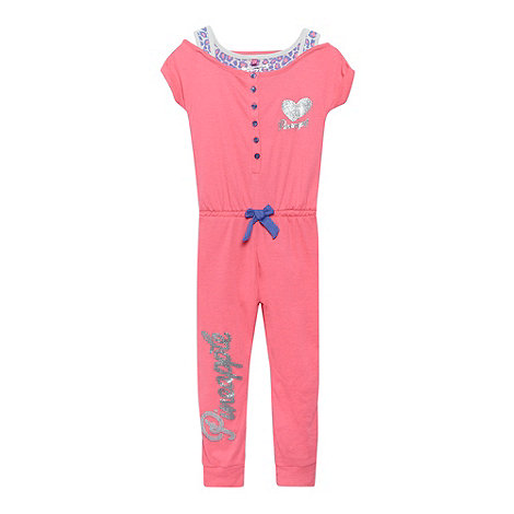 Pineapple - Girl+s bright pink mock vest jersey onesie