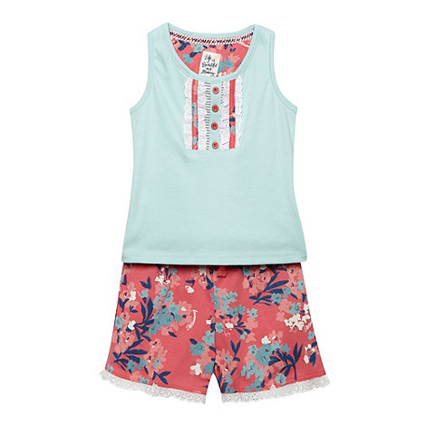Mantaray - Girl+s aqua vest and pink floral shorts set