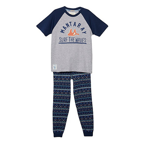 Mantaray - Boy's grey logo pyjama set