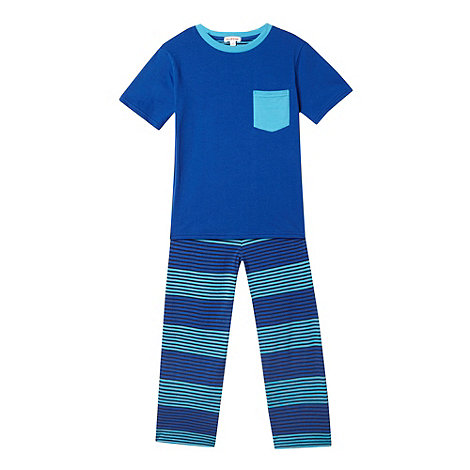 bluezoo - Boy+s dark blue plain and striped pyjama set