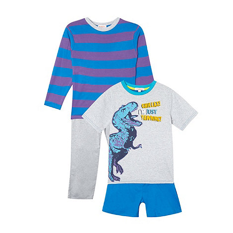 bluezoo - Boy+s pack of two blue mix and match pyjama set