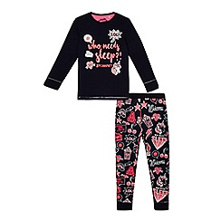 bluezoo - Girls' navy 'Who Needs Sleep?!' pyjama set