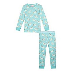 bluezoo - Girls' aqua unicorn print pyjama set