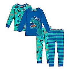 bluezoo - Pack of two boy's blue and green dinosaur print pyjama sets