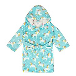 bluezoo - Girls' aqua unicorn print dressing gown