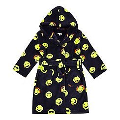 bluezoo - Boys' navy pixel smiley face print dressing gown